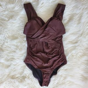 Cute One Piece Brown Swimsuit